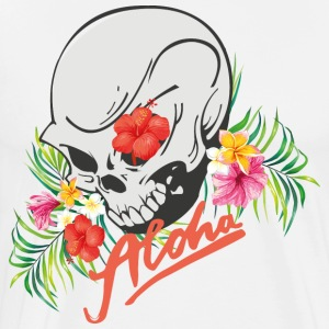 Hawaiian Aloha Surfer Skull Design - Premium T-skjorte for menn