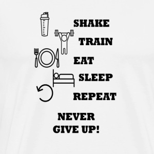 Trein Shake Eat Sleep Repeat - Mannen Premium T-shirt