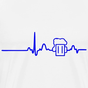 ECG HEART BEER LINE blue - Men's Premium T-Shirt