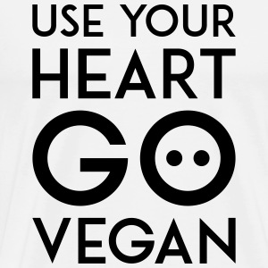 USE YOUR HEART GO VEGAN black - Men's Premium T-Shirt