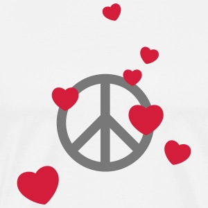 Peace sign heart love flower power Valentine's Day - Men's Premium T-Shirt