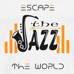 Escape the World Jazz Saksofoni Music Passion Song - Miesten premium t-paita