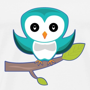 Cute blue owl in the branch