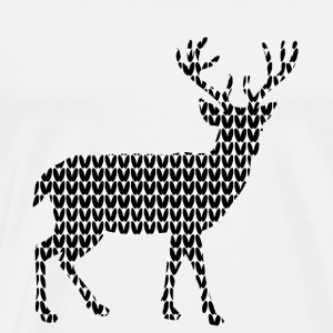 Reindeer knitted look Christmas sweater traditional costume - Men's Premium T-Shirt
