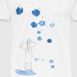 Woman with umbrella in the rain - Men's Premium T-Shirt