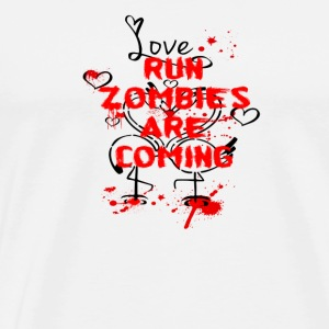 RUN ZOMBIES ARE COMING LOVE FLAMINGO BLUT MONSTER - Männer Premium T-Shirt