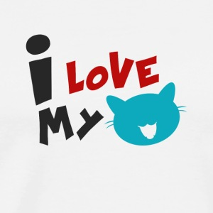 CAT | I LOVE MY CAT - Herre premium T-shirt