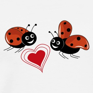 Ladybugs with red heart - Men's Premium T-Shirt