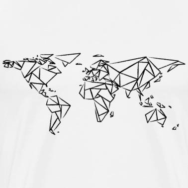Carte Du Monde Carte Du Monde Affiche Géométrique Noir Posters Blanc