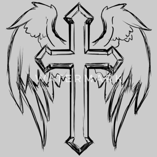 Tattoo Mti Kruis En Vleugels Mannen Premium T Shirt