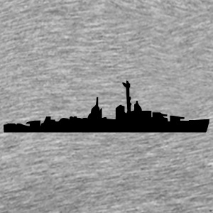 Vector Navy warship Silhouette - Men's Premium T-Shirt