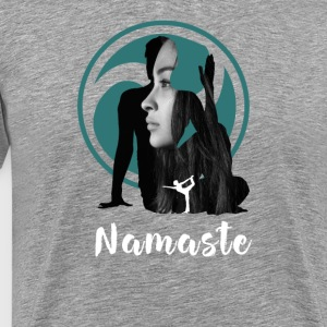 yoga namaste woman yin yang buddha meditation fun l - Men's Premium T-Shirt