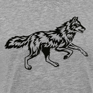 Running Wolf Tribal Flame - T-shirt Premium Homme