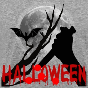 Horror Halloween tree moon bat knife blood - Men's Premium T-Shirt