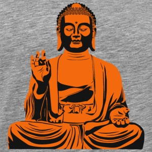 Buddha statue or sculpture in orange / black - Men's Premium T-Shirt