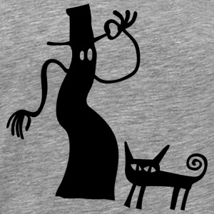 Witch with cat - Men's Premium T-Shirt