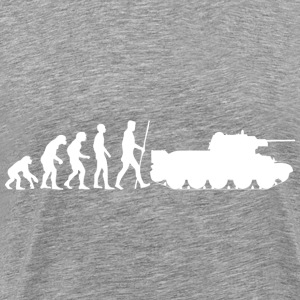 The evolution of humanity ends in the war tank - Men's Premium T-Shirt