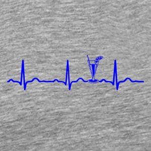 EKG HEARTBEAT COCKTAIL Blå - Herre premium T-shirt