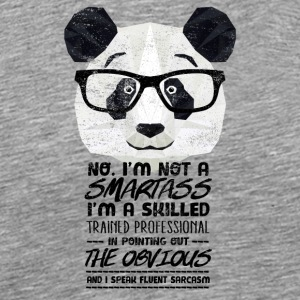 Cool Panda bear with glasses & know-it-all saying - Men's Premium T-Shirt