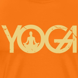Yoga writing with woman in grunge style - Men's Premium T-Shirt