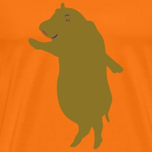 Happy hippo, colorful and slanting - Men's Premium T-Shirt