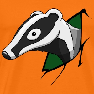 Badger green forest animal cheeky funny comic gift - Men's Premium T-Shirt