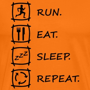 Logo RUN EAT SLEEP REPEAT in schwarz - Männer Premium T-Shirt
