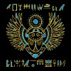 Egyptian Scarab Beetle Gold and blue stained glass - Men's Premium T-Shirt