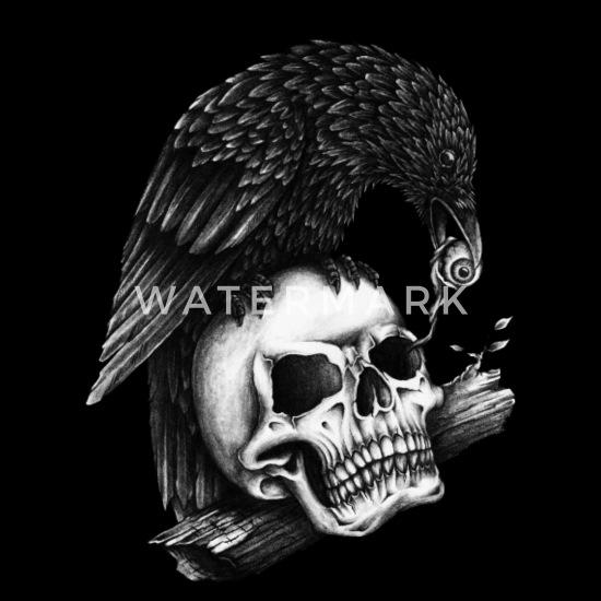 Raven Schedel Tattoo Oog Tekenen Mannen Premium T Shirt