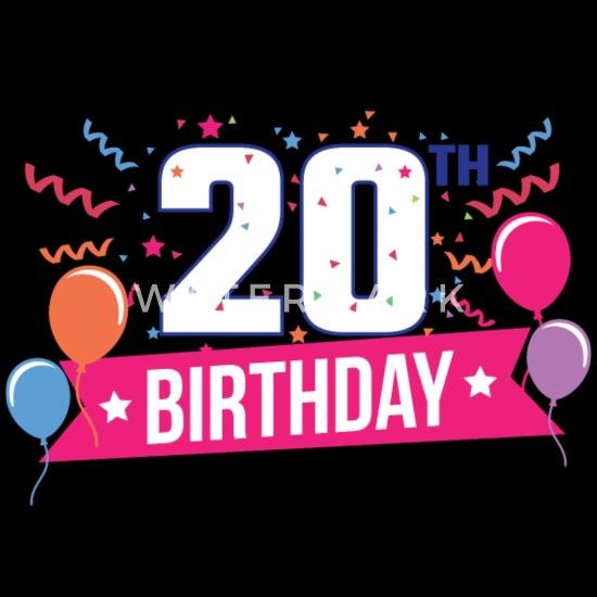 Verjaardag Man 20 Jaar.20ste Verjaardag 20 Jaar Gelukkige Gift Van De Verjaardag Mannen Premium T Shirt Zwart
