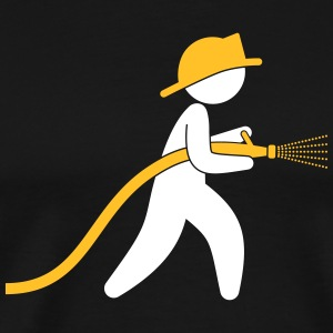 A Firefighter With A Water Hose - Men's Premium T-Shirt