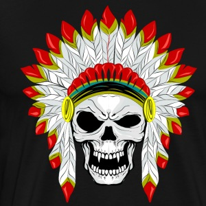 skull with plume of Indian feathers - Men's Premium T-Shirt