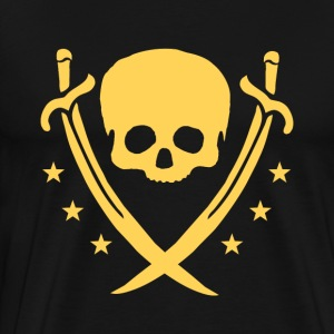 Gold-colored skull, swords and stars - Men's Premium T-Shirt