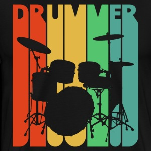 Vintage Retro Drummer. Drumming Kit. Rock 'N' Roll