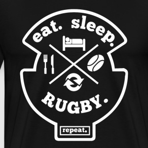 Eat Sleep Rugby Repeat Hobby Sports Shirt - Men's Premium T-Shirt