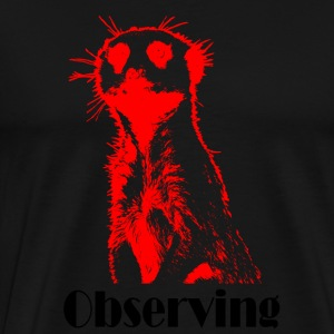 Meerkat watching red - Men's Premium T-Shirt