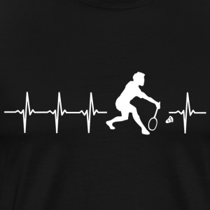 I love Badminton (Badminton heartbeat) - Men's Premium T-Shirt