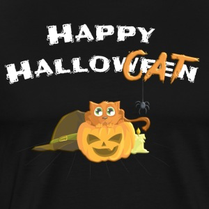 Happy Halloween / Kat in Pumpkin - White - Mannen Premium T-shirt