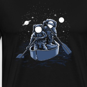 Two astronauts row through the universe. - Men's Premium T-Shirt