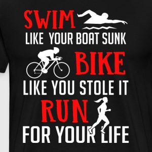 Triathlon - Swim Bike Run - Premium T-skjorte for menn