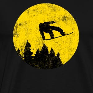 Snowboarder before full moon - Men's Premium T-Shirt
