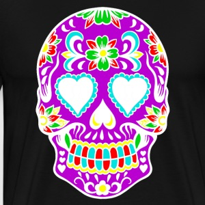 Rainbow Flower Skull Art Design - Men's Premium T-Shirt