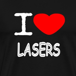 I LOVE LASERS - Premium T-skjorte for menn