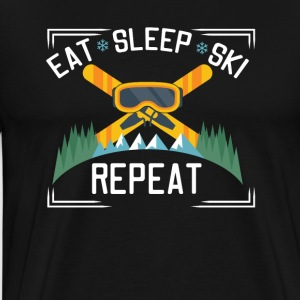 Eat Sleep Ski Gentag - Herre premium T-shirt