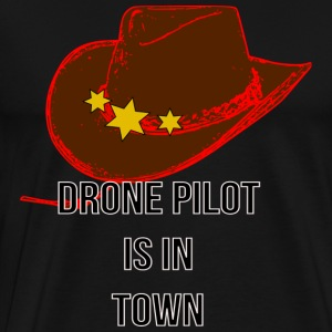 Drone Pilot in Town Design - Men's Premium T-Shirt