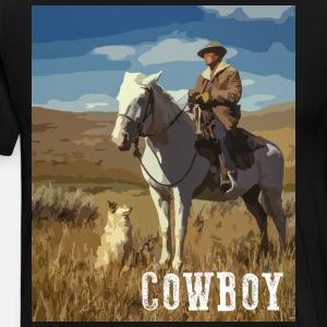 Paardrijden Cowboy Met Hond Western Horse Dog Mannen Premium T Shirt