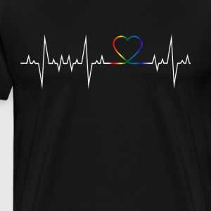 drapeau arc-en-Hearbeat - T-shirt Premium Homme