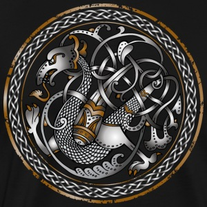 Celtic Dragon på cirkel - Premium-T-shirt herr