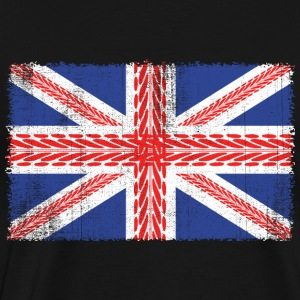Vintage Flag> UK Flag Made of Mountain Bike Tracks - Men's Premium T-Shirt