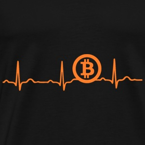 EKG HEARTBEAT Bitcoin BTC - cryptocurrency appelsin - Herre premium T-shirt
